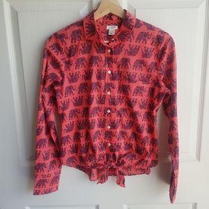 J Crew Elephant Print Tie Waist Shirt Top Size XS